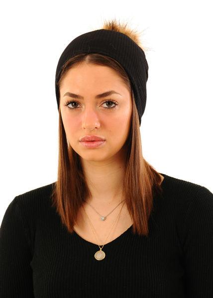 תמונה של כובע סריג ריב פונפון דגם DAN